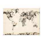 Map of the World Map from Old Clocks Gallery Wrapped Canvas