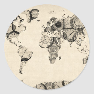 Map of the World Map from Old Clocks Classic Round Sticker