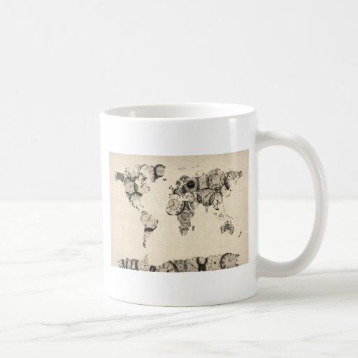 Map of the World Map from Old Clocks Coffee Mug