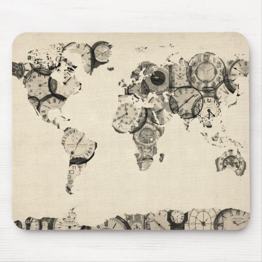 Map of the World Map from Old Clocks Mouse Pad