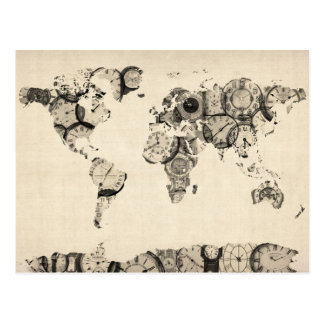 Map of the World Map from Old Clocks Post Cards