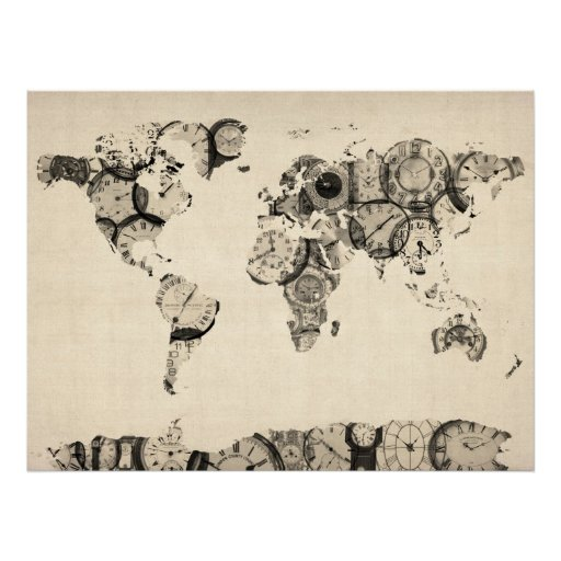 map of the world map from old clocks print. Black Bedroom Furniture Sets. Home Design Ideas