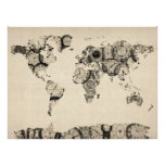 Map of the World Map from Old Clocks Print