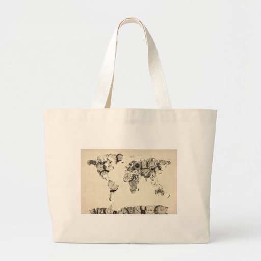 Map of the World Map from Old Clocks Tote Bag