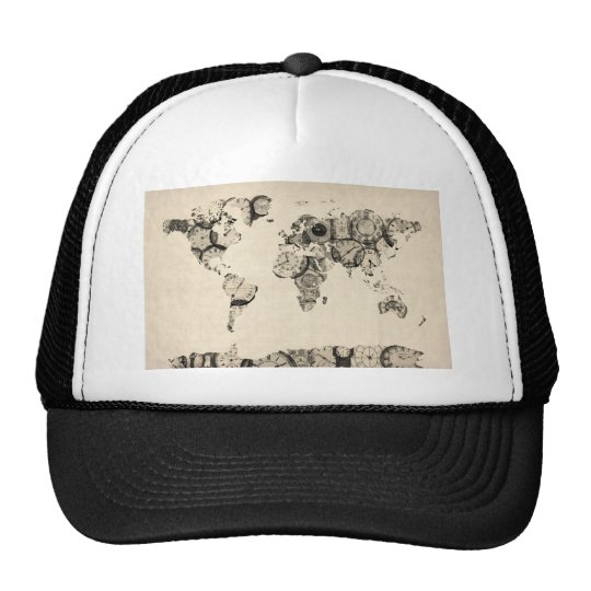 Map of the World Map from Old Clocks Trucker Hat