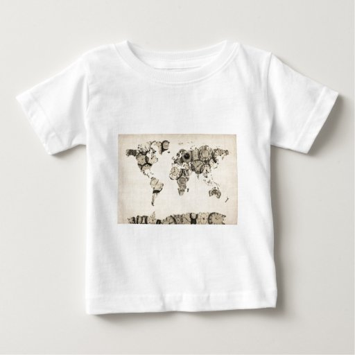Map of the World Map from Old Clocks Tshirts