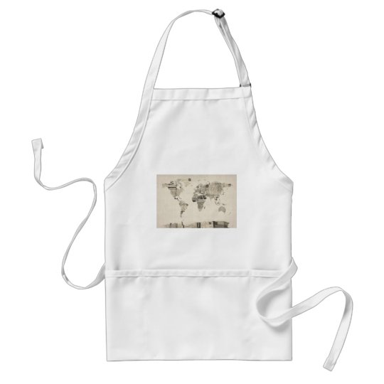 Map of the World Map from Old Postcards Adult Apron