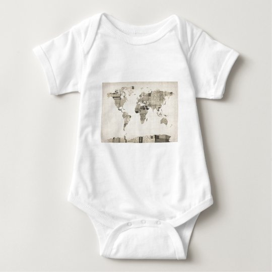 Map of the World Map from Old Postcards Baby Bodysuit
