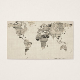 Map of the World Map from Old Postcards Business Card