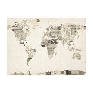 Map of the World Map from Old Postcards Gallery Wrap Canvas