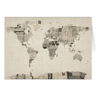 Map of the World Map from Old Postcards Cards