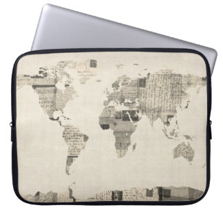 Map of the World Map from Old Postcards Laptop Sleeve