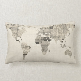 Map of the World Map from Old Postcards Lumbar Pillow