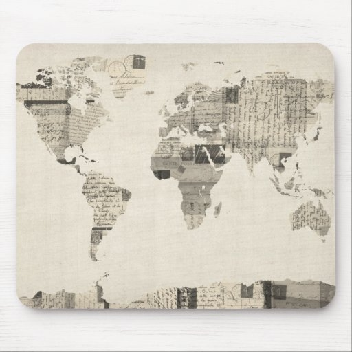 Map of the World Map from Old Postcards Mouse Pad