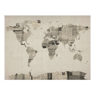 Map of the World Map from Old Postcards Poster