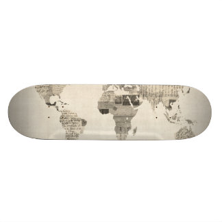 Map of the World Map from Old Postcards Skateboard Deck