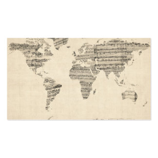 Map of the World Map from Old Sheet Music Business Card