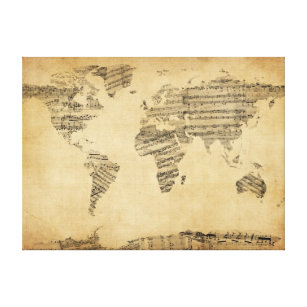 Sheet music wrapped canvas prints zazzle map of the world map from old sheet music canvas print gumiabroncs Choice Image