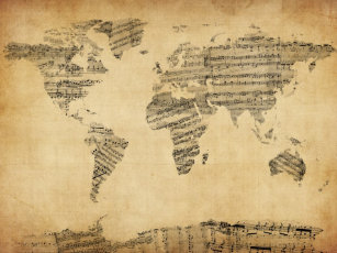 Music score art framed artwork zazzle map of the world map from old sheet music canvas print gumiabroncs Choice Image
