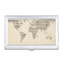 Map of the World Map from Old Sheet Music Case For Business Cards