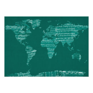 Map of the World Map from Old Sheet Music Custom Invites