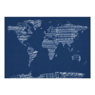 Map of the World Map from Old Sheet Music Invites