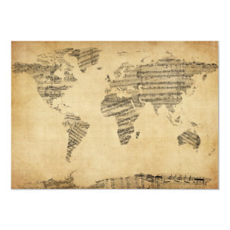 Map of the World Map from Old Sheet Music 5x7 Paper Invitation Card