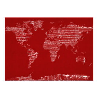 Map of the World Map from Old Sheet Music Personalised Invites