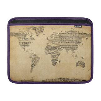 Map of the World Map from Old Sheet Music Sleeves For MacBook Air