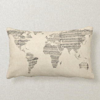 Map of the World Map from Old Sheet Music Lumbar Pillow