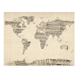 Map of the World Map from Old Sheet Music Postcard