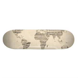 Map of the World Map from Old Sheet Music Skateboard