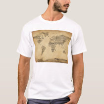 Map of the World Map from Old Sheet Music T-Shirt
