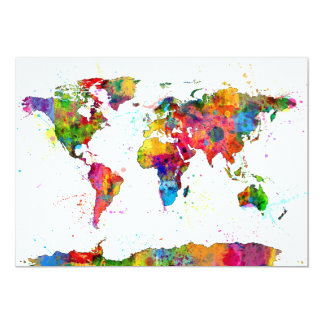 Map of the World Map Watercolor 5x7 Paper Invitation Card