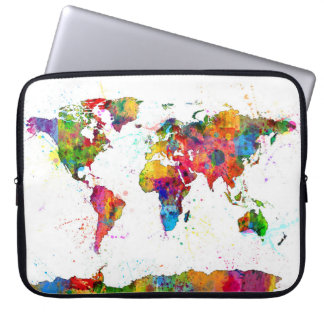 Map of the World Map Watercolor Laptop Computer Sleeve