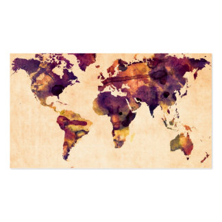 Map of the World Map Watercolor Painting Business Card