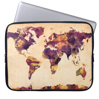 Map of the World Map Watercolor Painting Computer Sleeve