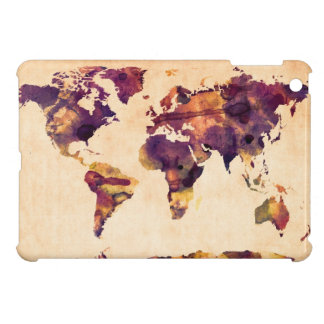 Map of the World Map Watercolor Painting iPad Mini Covers