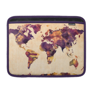 Map of the World Map Watercolor Painting MacBook Air Sleeve