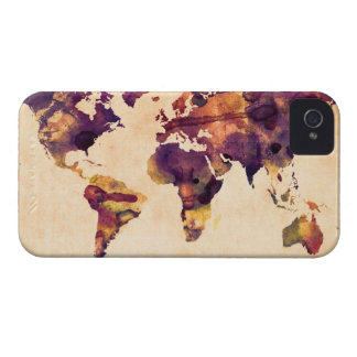 Map of the World Map Watercolor Painting iPhone 4 Case