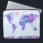 "Map of the World Map Watercolor Painting Laptop Sleeve<br><div class=""desc"">An abstract watercolor painting of a world map,  includes country borders.</div>"