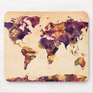Map of the World Map Watercolor Painting Mouse Pad