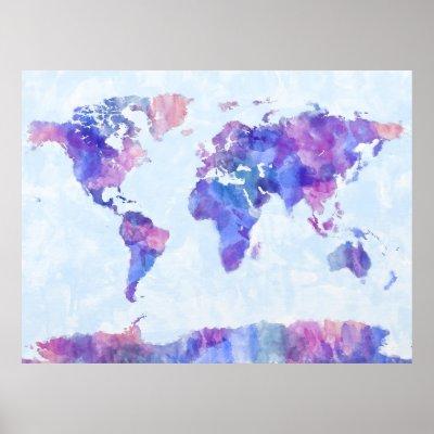 World Map Urban Watercolor Poster | Zazzle.com