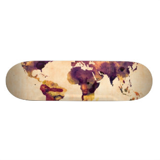 Map of the World Map Watercolor Painting Skate Board Deck