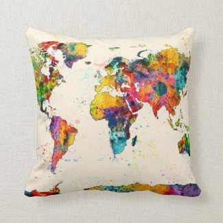 Map of the World Map Watercolor Pillows