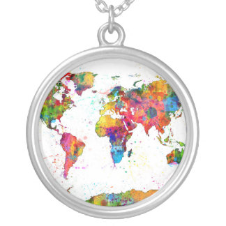 Map of the World Map Watercolor Silver Plated Necklace