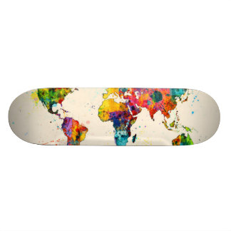 Map of the World Map Watercolor Skateboard Deck