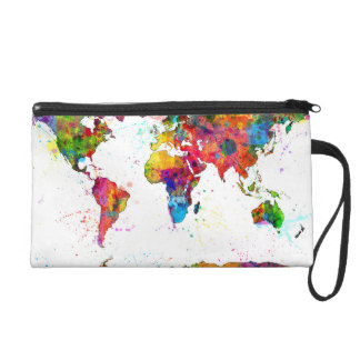 Map of the World Map Watercolor Wristlet Purse