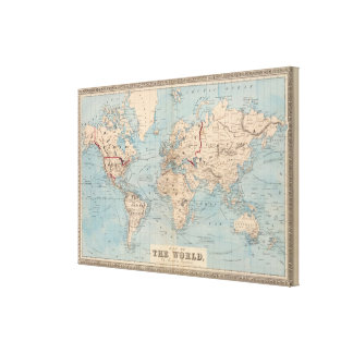 Map of the world on Mercator's projection Canvas Print
