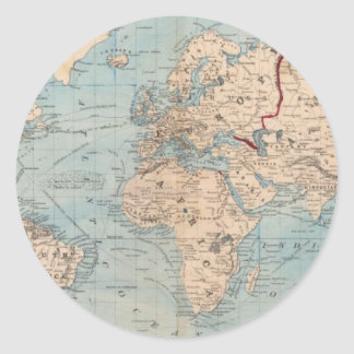 Map of the world on Mercator's projection Classic Round Sticker
